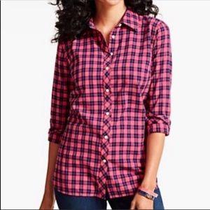 Talbots Pink Plaid Button Down Shirt